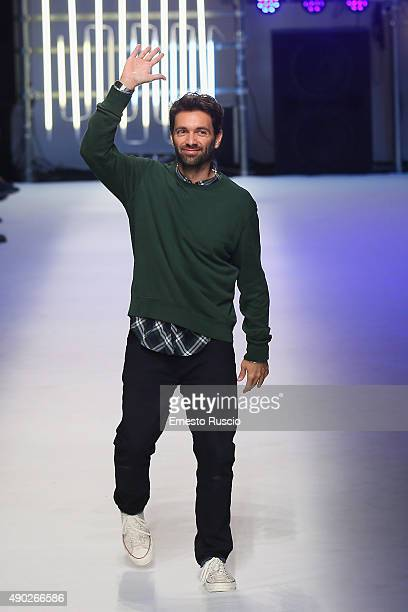 Designer Massimo Giorgetti walks the runway during the MSGM fashion show as part of Milan Fashion Week Spring/Summer 2016 on September 27 2015 in...