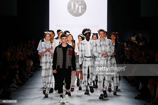 Designer Matteo Lamandini and a group of model walk the runway after the Matteo Lamandini show 'Designer for Tomorrow' by Peek Cloppenburg and...