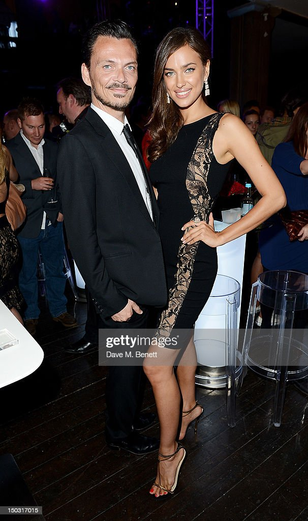 Designer Matthew Williamson (L) and model Irina Shayk attend the Samsung Galaxy Note 10.1 launch party at One Mayfair on August 15, 2012 in London, England.