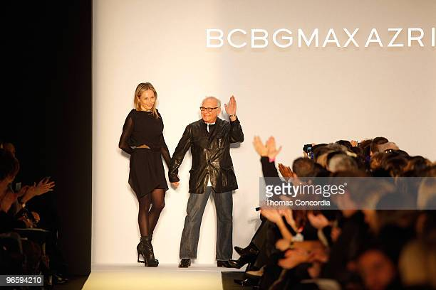 Designer Max Azria and a model walk the runway at the BCBG Max Azria Fall 2010 fashion show during MercedesBenz Fashion Week on February 11 2010 in...