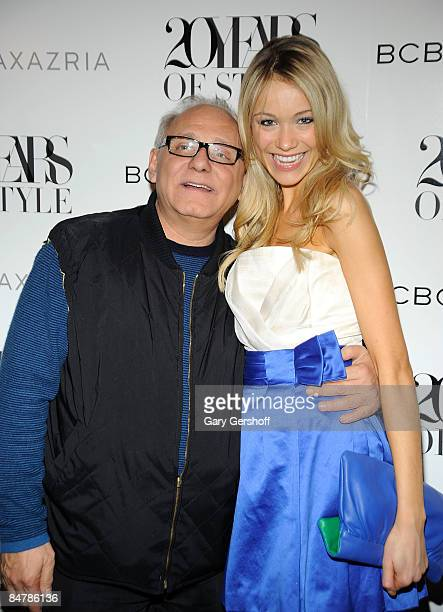 Designer Max Azria and actress Katrina Bowden attend BCBG Max Azria Fall 2009 backstage during MercedesBenz Fashion Week at The Tent in Bryant Park...