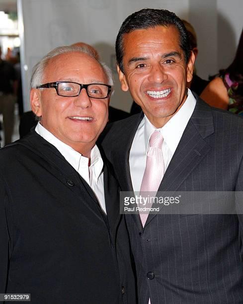 Designer Max Azria and Mayor Antonio Villaraigosa kick off Los Angeles Fashion Week at the California Market Center on October 6, 2009 in Los...