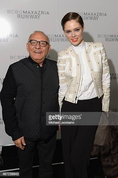 Designer Max Azria and model Coco Rocha pose backstage at BCBGMAXAZRIA fashion show during MercedesBenz Fashion Week Fall 2014 at The Theatre at...