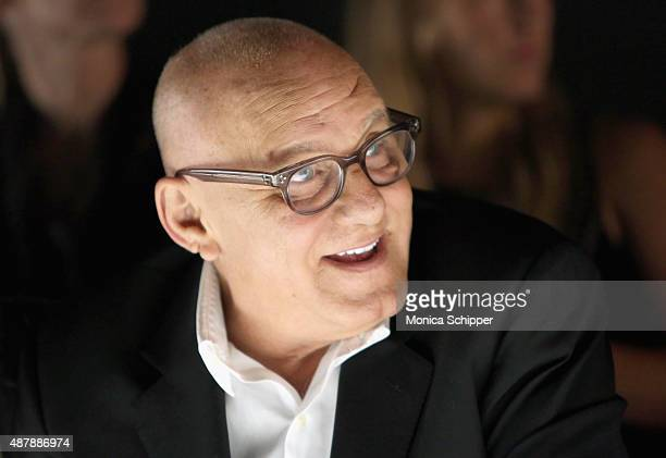 Designer Max Azria attends Herve Leger by Max Azria Spring 2016 during New York Fashion Week The Shows at The Arc Skylight at Moynihan Station on...
