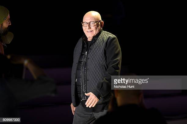 Designer Max Azria attends the Herve Leger By Max Azria Fall 2016 fashion show during New York Fashion Week The Shows at The Arc Skylight at Moynihan...