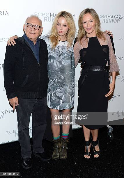 Designer Max Azria Cory Kennedy and Lubov Azria pose backstage at the BCBGMAXAZRIA Spring 2013 fashion show during MercedesBenz Fashion Week at The...