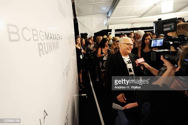 Designer Max Azria interviews backstage at the BCBG Spring 2011 fashion show during MercedesBenz Fashion Week at Lincoln Center on September 10 2010...
