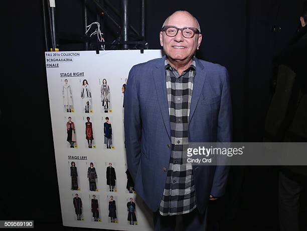 Designer Max Azria poses backstage at the BCBGMAXAZRIA Fall 2016 fashion show during New York Fashion Week The Shows at The Dock Skylight at Moynihan...