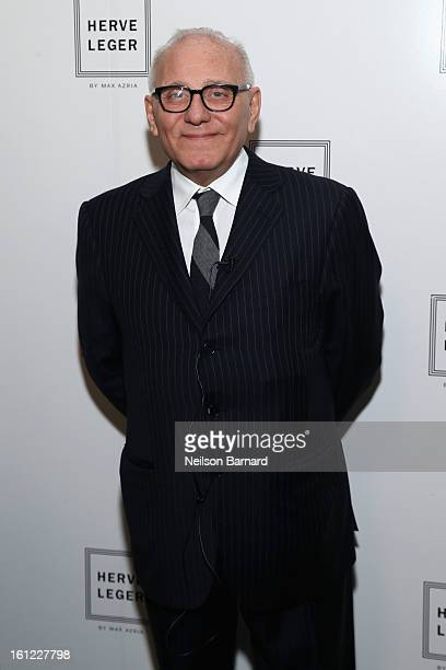 Designer Max Azria poses backstage at the Herve Leger by Max Azria Fall 2013 fashion show during MercedesBenz Fashion Week at The Theatre at Lincoln...