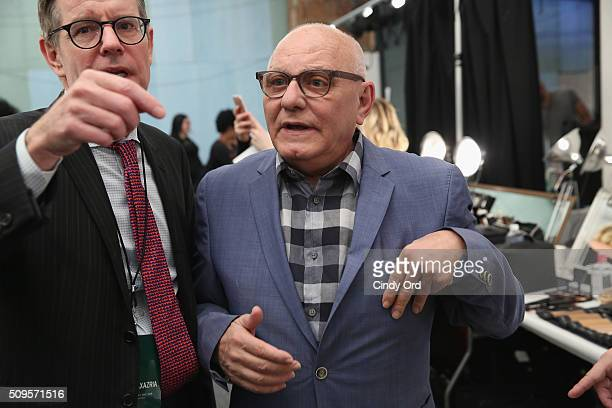 Designer Max Azria prepares backstage at the BCBGMAXAZRIA Fall 2016 fashion show during New York Fashion Week The Shows at The Dock Skylight at...