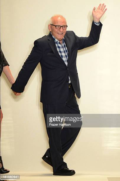 Designer Max Azria walks the runway at the Herve Leger By Max Azria Spring 2013 fashion show during Mercedes-Benz Fashion Week on September 8, 2012...