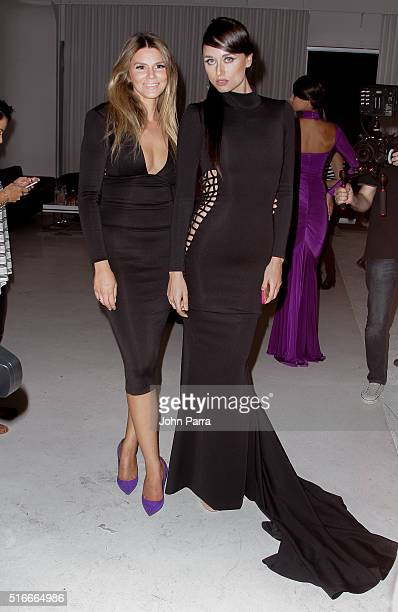 Designer Melina Harris and a model backstage pose for a photo at the HAMEL By Melina Harris At FUNKSHION Fashion Week Miami Beach at Studio 255 on...