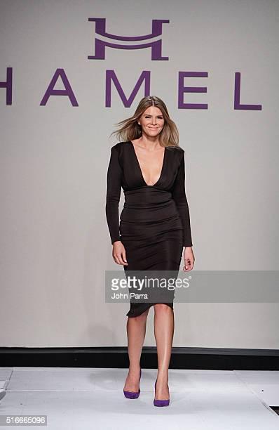 Designer Melina Harris walks the runway at the HAMEL By Melina Harris At FUNKSHION Fashion Week Miami Beach at Studio 255 on March 19 2016 in Miami...