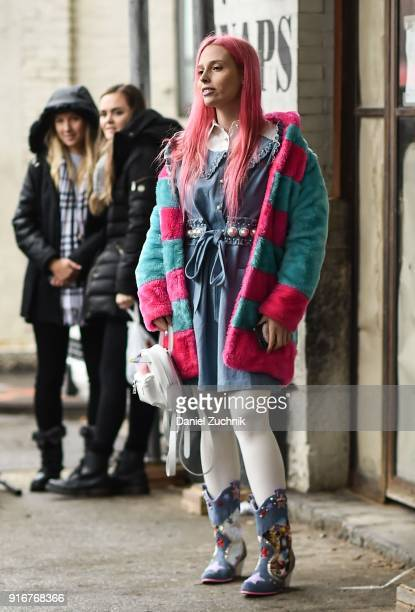 Designer Mery Racauchi is seen outside the Christian Cowan show during New York Fashion Week Women's A/W 2018 on February 10 2018 in New York City