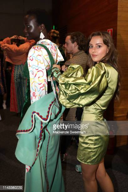 Designer Mia Rodriguez is seen backstage ahead of the FDS: The Innovators show at Mercedes-Benz Fashion Week Resort 20 Collections at Carriageworks...
