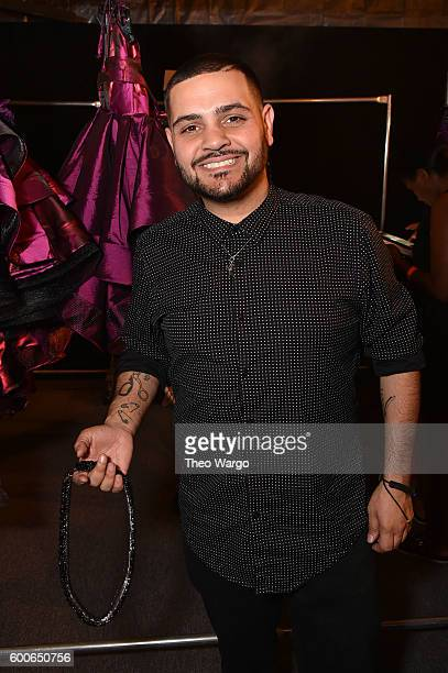 Designer Michael Costello poses backstage at the Michael Costello fashion show during New York Fashion Week The Shows September 2016 at The Dock...