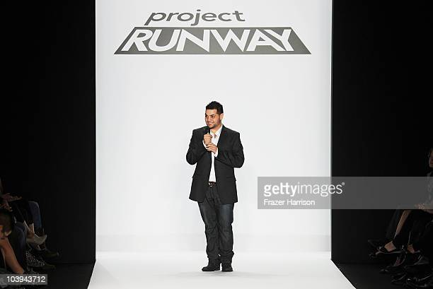 Designer Michael Costello speaks on the Project Runway Spring 2011 fashion show during the MercedesBenz Fashion Week Spring 2011 Official Coverage at...
