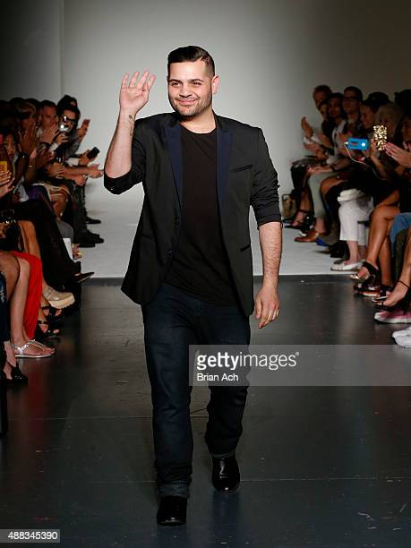 Designer Michael Costello walks the runway during the Michael Costello Spring 2016 show during New York Fashion Week at Pier 59 on September 15 2015...