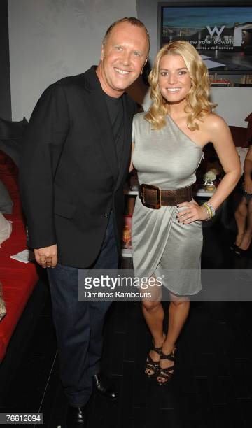Designer Michael Kors and Actress/Musician Jessica Simpson at Michael Kors Spring 2008 during Mercedes-Benz Fashion Week at the Tent, Bryant Park on...