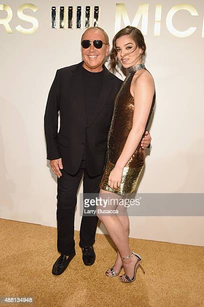 Designer Michael Kors and Hailee Steinfeld attend the new Gold Collection fragrance launch hosted by Michael Kors featuring Duran Duran at Top of The...