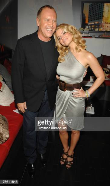 Designer Michael Kors and musician/actress Jessica Simpson at Michael Kors Spring 2008 during Mercedes-Benz Fashion Week at the Tent, Bryant Park on...