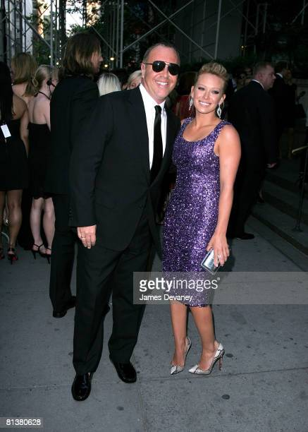 Designer Michael Kors and singer Hilary Duff attend the 2008 CFDA Fashion Awards at The New York Public Library on June 2, 2008 in New York City.