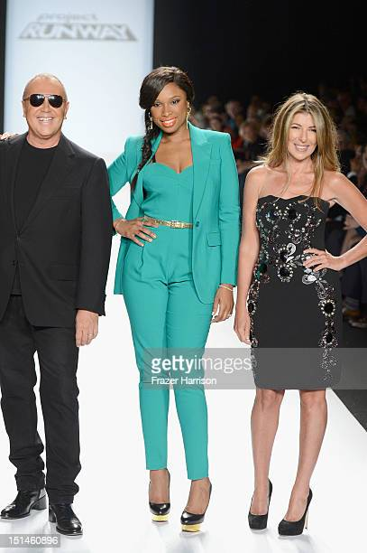 Designer Michael Kors singer Jennifer Hudson and Nina Garcia walk the runway at the Project Runway Spring 2013 fashion show during MercedesBenz...