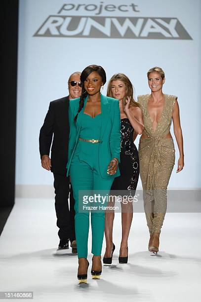 Designer Michael Kors singer Jennifer Hudson Nina Garcia and model Heidi Klum walk the runway at the Project Runway Spring 2013 fashion show during...