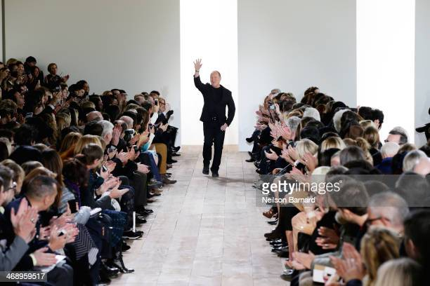 Designer Michael Kors walks the runway at the Michael Kors fashion show during Mercedes-Benz Fashion Week Fall 2014 at Spring Studios on February 12,...