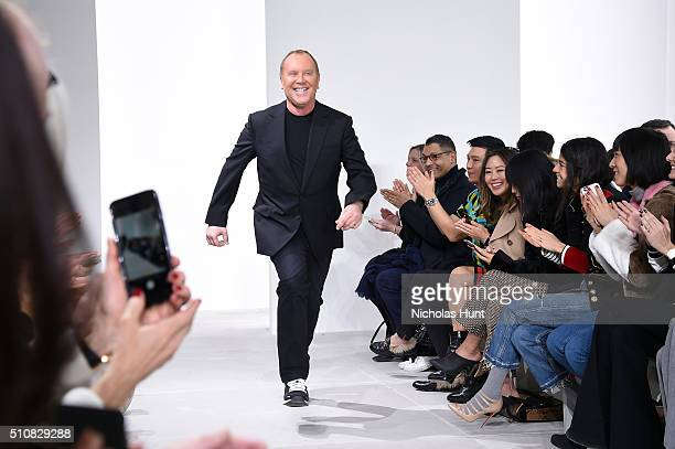 Designer Michael Kors walks the runway during the Michael Kors Fall 2016 During New York Fashion Week The Shows at Spring Studios on February 17 2016...