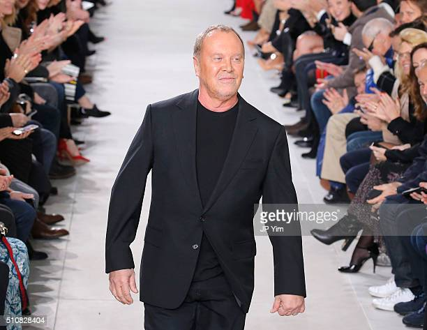 Designer Michael Kors walks the runway wearing Michael Kors Fall 2016 During New York Fashion Week The Shows at Spring Studios on February 17 2016 in...