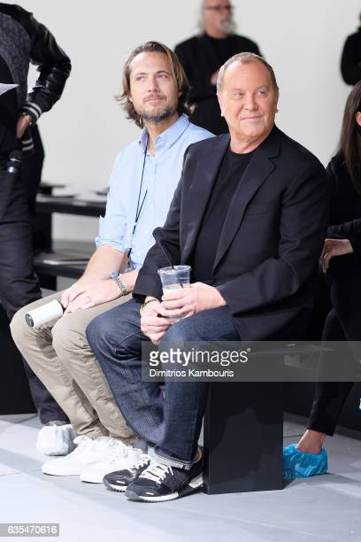 Designer Michael Kors watches the runway rehearsal before the Michael Kors Collection Fall 2017 runway show at Spring Studios on February 15 2017 in...