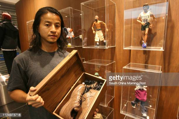 Designer Michael Lau with his new product at Nike Shop Central 28 September 2006