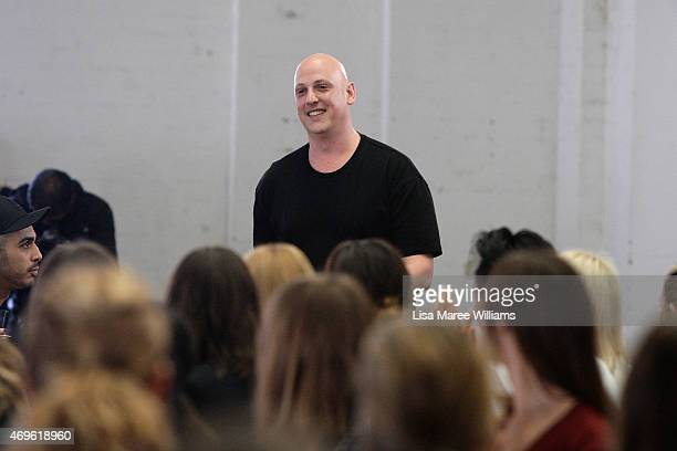 Designer Michael Lo Sordo thanks guests following the Michael Lo Sordo show at MercedesBenz Fashion Week Australia 2015 at Carriageworks on April 14...