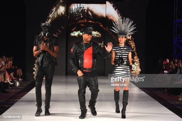Designer Michael Lombard walks the runway during Society Fashion Week Michael Lombard at The Roosevelt Hotel on September 8 2018 in New York City