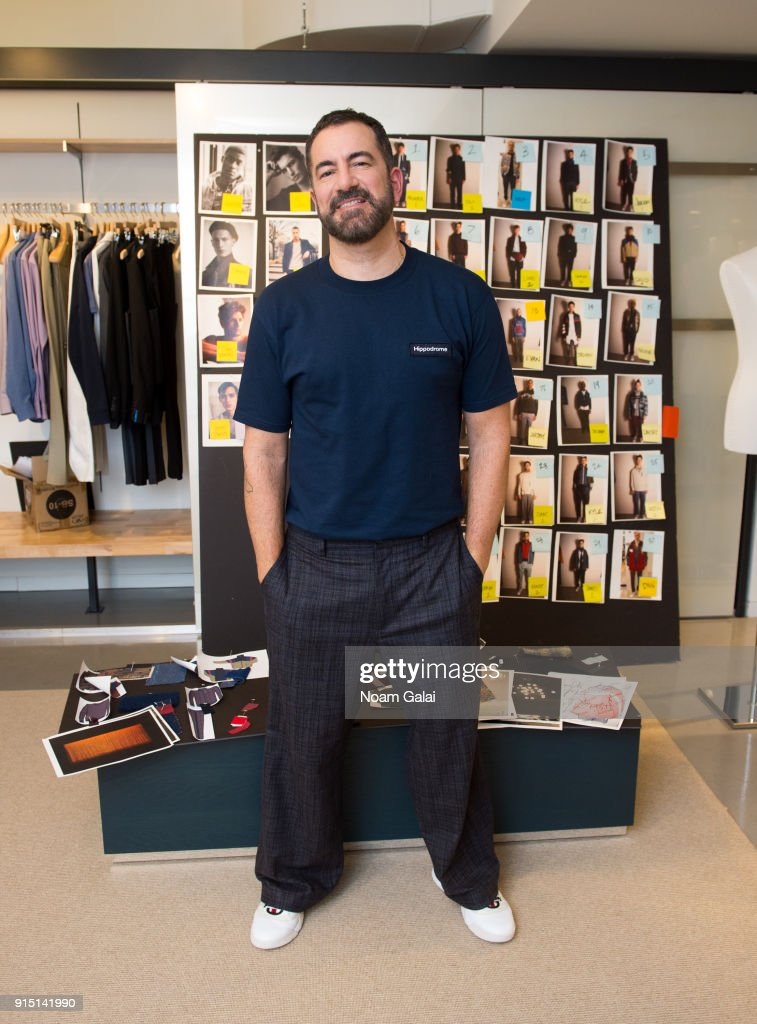 Designer Michael Maccari poses backstage at the Perry Ellis fashion show during New York Fashion Week Mens' at The Hippodrome Building on February 6, 2018 in New York City.