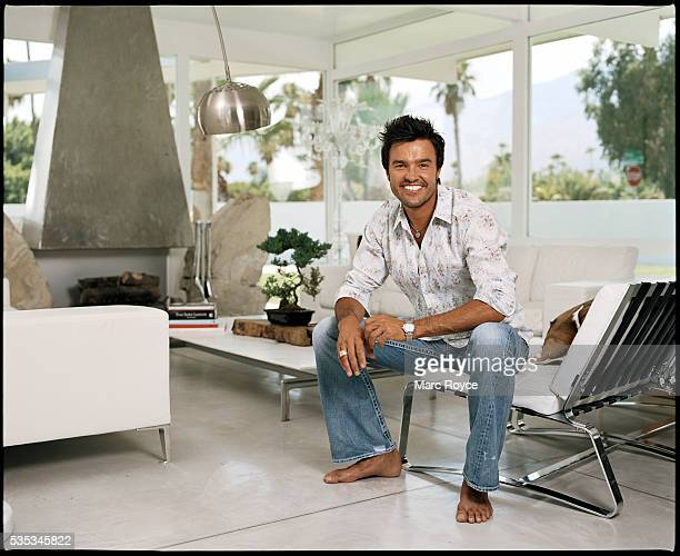 Designer Michael Moloney in his living room at his home in Palm Springs California