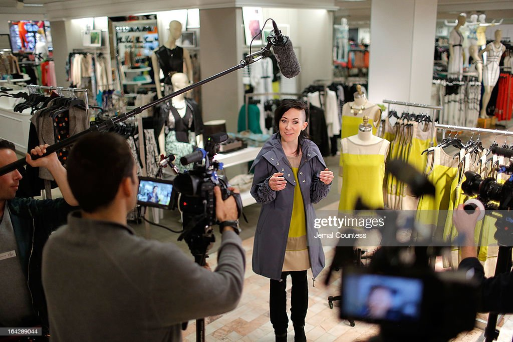 Designer Michelle Franklin is interviewed about her Project Runway Lord & Taylor challenge winning design during an in-store visit to the Lord & Taylor Flagship store on March 22, 2013 in New York City.