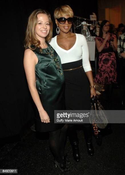 Designer Michelle Smith and singer Mary J. Blige attend Milly by Michelle Smith Fall 2009 during Mercedes-Benz Fashion Week at The Promenade in...