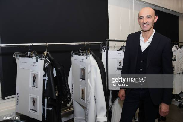 Designer Miguel Vieira poses backstage at the Miguel Vieira fashion show during New York Fashion Week at Pier 59 Studios on February 14 2017 in New...