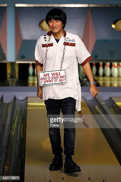 Designer Mihara Yasuhiro walks the runway at the Maison Mihara Yasuhiro show during The London Collections Men SS17 at on June 13, 2016 in London,...