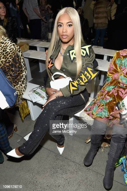 Designer Milan Harris attends the Jeremy Scott front row during New York Fashion Week The Shows at Gallery I at Spring Studios on February 8 2019 in...