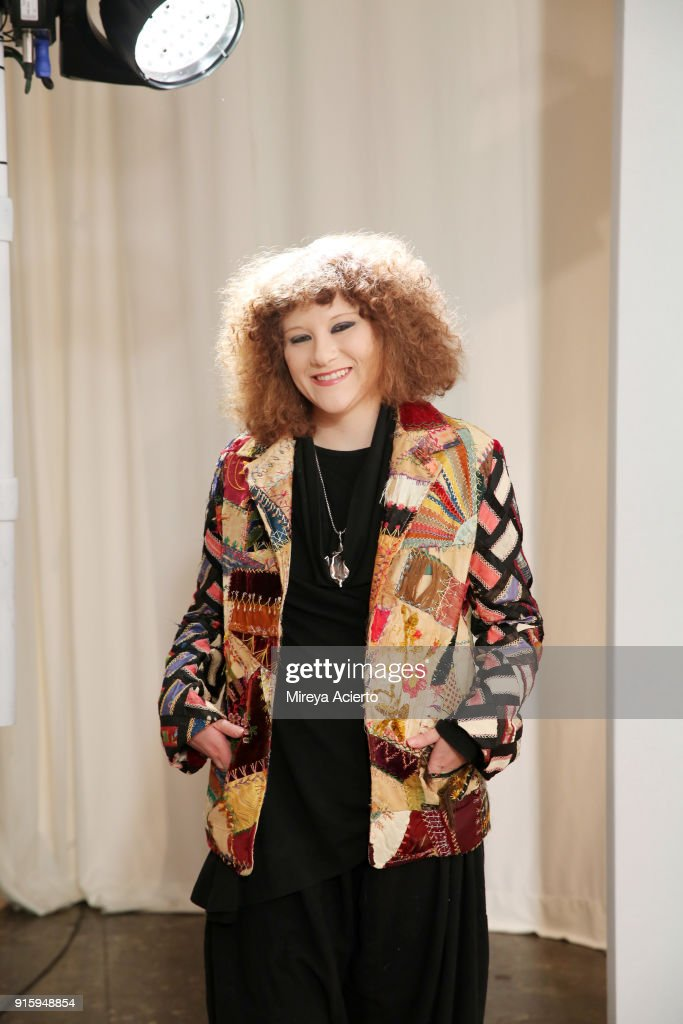 Designer Mimi Prober poses backstage for Ceremony: Xuly.Bet x Mimi Prober x Hogan McLaughlin during New York Fashion Week: The Shows at Industria Studios on February 8, 2018 in New York City.