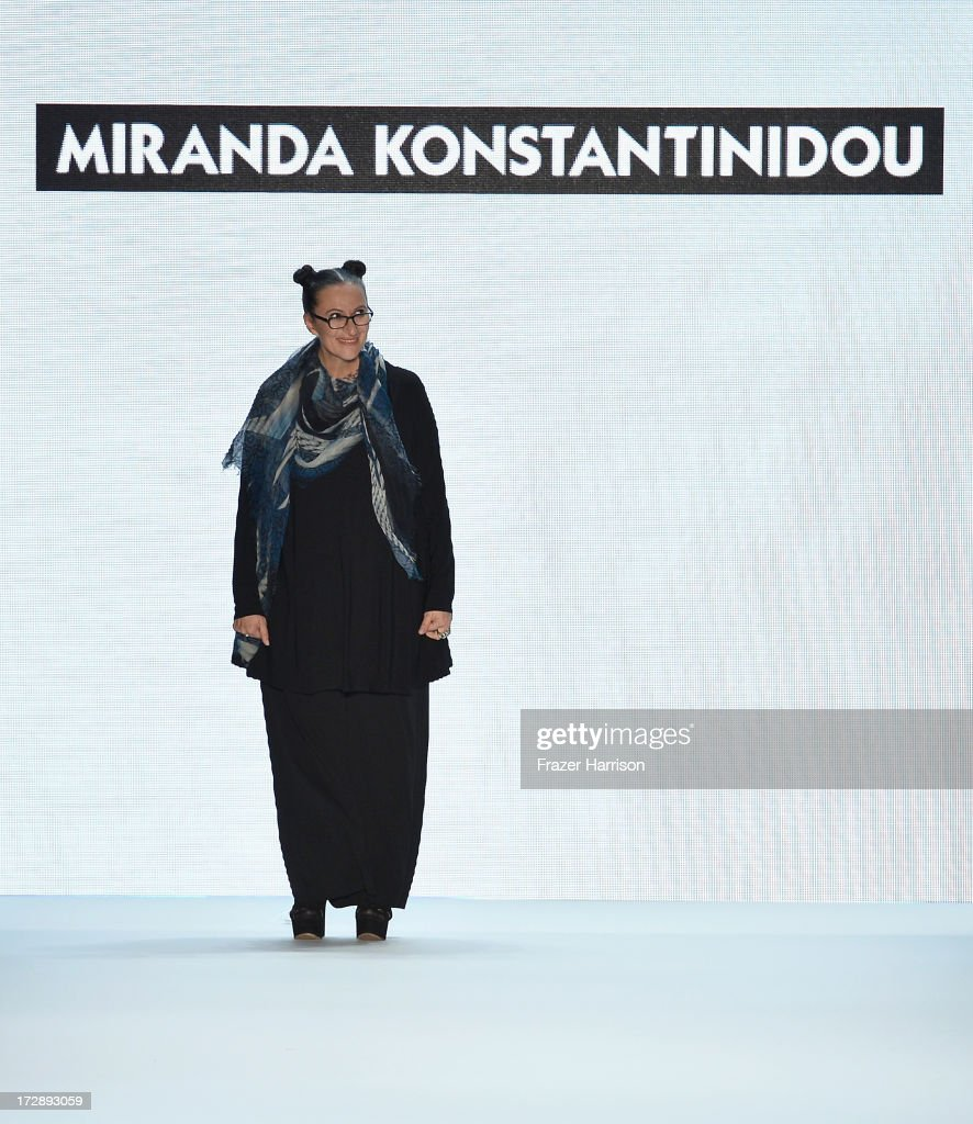 Designer Miranda Konstantinidou at the Miranda Konstantinidou Show during the Mercedes-Benz Fashion Week Spring/Summer 2014 at Brandenburg Gate on July 5, 2013 in Berlin, Germany.