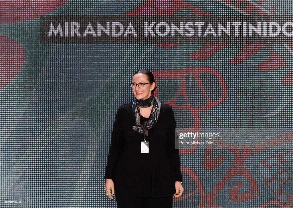 Designer Miranda Konstantinidou on stage after the Miranda Konstantinidou show during the Mercedes-Benz Fashion Week Spring/Summer 2015 at Erika Hess Eisstadion on July 11, 2014 in Berlin, Germany.