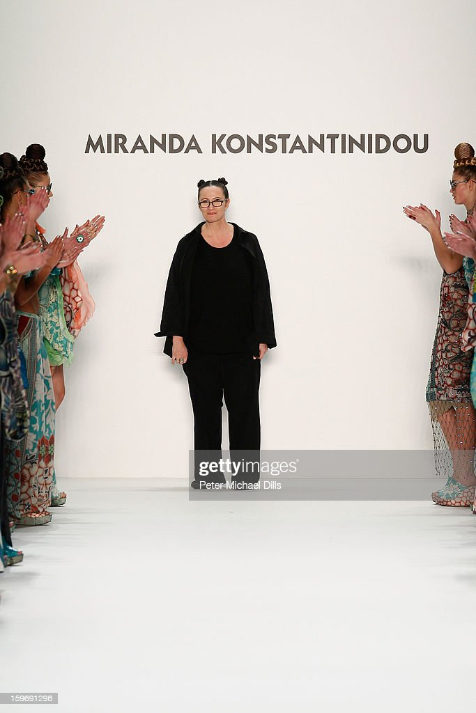 Designer Miranda Konstantinidou walks the runway at Miranda Konstantinidou Autumn/Winter 2013/14 fashion show during Mercedes-Benz Fashion Week Berlin at Brandenburg Gate on January 18, 2013 in Berlin, Germany.