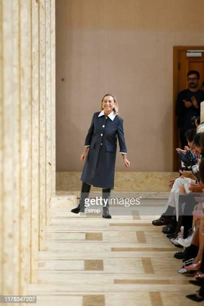 Designer Miuccia Parada during the Miu Miu Womenswear Spring/Summer 2020 show as part of Paris Fashion Week on October 1, 2019 in Paris, France.