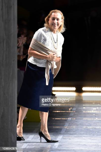 Designer Miuccia Prada acknowledges the applause of the audience at the Prada show during Milan Fashion Week Spring/Summer 2019 on September 20, 2018...