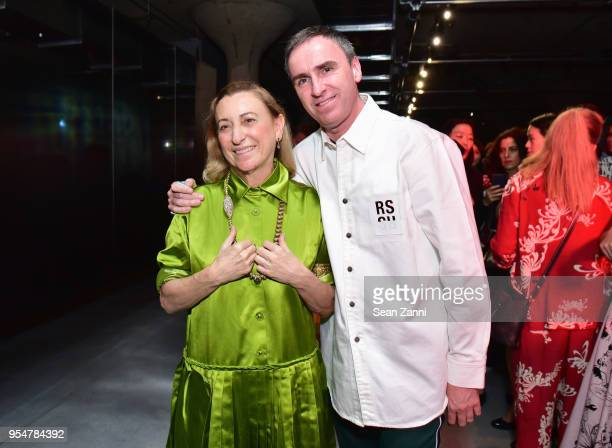 Designer Miuccia Prada and Designer Raf Simons attend the Prada Resort 2019 fashion show on May 4, 2018 in New York City.