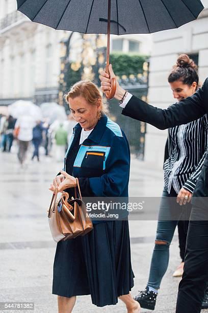 Designer Miuccia Prada at the Miu Miu Event at Htel de la Pava on July 3, 2016 in Paris, France.